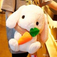 weißer kaninchenplüsch großhandel-4 Arten Kreatives lop Kaninchenpuppe weiches nettes weißes Kaninchenplüschspielzeugbaby, das das Geschenk der schlafenden Spielzeugkinder begleitet