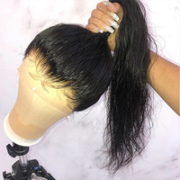 Wholesale ponytail human hair lace wig resale online - Pre Plucked Lace Front Ponytail Wigs With Baby Hair A Silky Straight Brazilian Virgin Full Lace Human Hair Wigs For Black Women