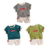 полосатые шорты верхний набор оптовых-Kids Boys Short Sleeve Sets 2019 Summer Striped Letter Print Tops Blouse T-shirt+Shorts Casual Outfits Sets