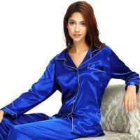 плюс размер шелковых пижамных наборов оптовых-Женская пижама Комплекты Сатин Пижамы Loungewear Осень Зима Ночное Nightdress шелковые брюки с длинным рукавом плюс размер