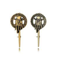 taht iğnesi toptan satış-Oyun thrones El King Of broşlar pins Antik Altın Bronz El Broş Rozeti yaka Pin Erkekler Moda takı 170238