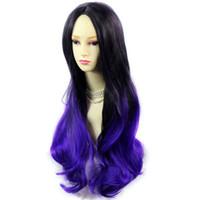 perucas surpreendentes venda por atacado-Incrível Preto Marrom Roxo Longo Ondulado Senhora Peruca Dip-Dye Ombre Cabelo