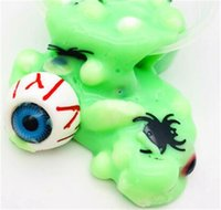 Wholesale foam clay for sale - Group buy Halloween Horrible Tricky Slime Foaming Glue Toys Eyeball Green Crystal Mud Kids Clay Toy Release Pressure kf2 O1