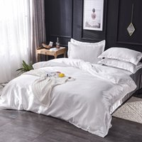 Wholesale bedding sets 5pcs for sale - Group buy Luxury Silk Bedding Set King Queen Twin Bed Linen Solid Color Satin Bedding With Duvet Cover Bed Sheet Pillowcases