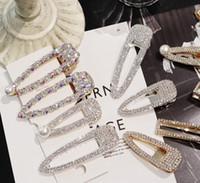 accesorios para el cabello clips de diamantes al por mayor-Fashion uper flash temperamento de lujo lleno de diamantes Crystal Pearl Elegantes Mujeres Barrettes Pinza de pelo Hairgrips Accesorios para el cabello