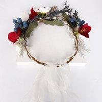 decoração de cabelo flor venda por atacado-Bohemian da flor do casamento da menina do cabelo coroa de flores de noiva headpiece coroa cabelo de noiva tiara ornamento da dama de honra decoração