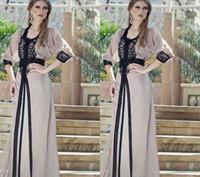 black abaya großhandel-Vintage schwarze Spitzenkleider Kaftan Arabisch Jalabiya Marokkaner Dubai Muslim 2019 Abaya In Dubai Lange Prom Maxi Abendkleid Robe Ehe