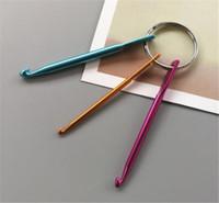 aguja meso al por mayor-3 tamaños en 1 juego de ganchos para llaveros, bricolaje artesanía multicolor, agujas de tejer, mini ganchillo de aluminio