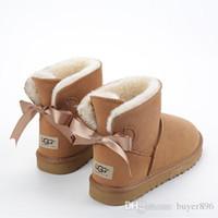 meias meias botas pretas venda por atacado-Ankle Boots Bow Mulheres Botas De Neve de Alta Qualidade Unsex Austrália Clássico Couro Genuíno Preto / Cinza / Marrom / Café Botas De Neve 3260