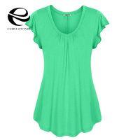 koreanische kleidung locker großhandel-Plus Size 6XL Sommer T-Shirt Frauen Schmetterlings-Hülsen-Oansatz festes Baumwollt-shirt übersteigt weibliche beiläufige lose koreanische Kleidung