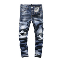 Wholesale american metal coatings online - Tide Card Black And White Whole Cotton Elastic Force Cowboy Trousers Metal Chain Hole Slim Small Feet Jeans Male