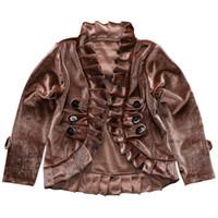 casaco marrom do bebê venda por atacado-Baby Girl Camurça Manteau Baby Girl Roupas de Grife Crianças Brown Manteau Crianças Roupas Kid Casaco de Manga Longa 43