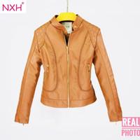 ingrosso nuove foto buone-NXH 2018 foto reale nuova inverno autunno di buona qualità Womens PU giacca in pelle da donna Slim breve Faux morbido semplice cappotto streetwear