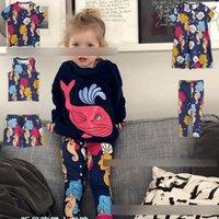 desenhos animados do hipocampo venda por atacado-INS Crianças hippocampus impresso vestido meninas gola redonda de manga curta impresso T-shirt crianças dos desenhos animados calções de praia meninas colete pernilongo F5582