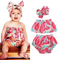 Wholesale baby bodysuits for sale - Group buy factory in stock infants baby girls watermelon pattern top tutu pant headband bodysuits jumpsuits baby girl set clothing