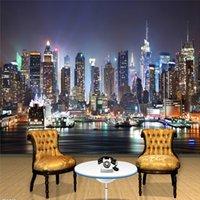 tv wanddekor großhandel-Benutzerdefinierte 3D-Fototapete New York City Nachtwandmalerei Kunst-Wand Tapete Wohnzimmer TV-Hintergrund-Wand-Papiere Home Decor