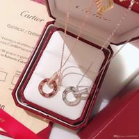 ingrosso pendenti a doppia catena-designer di gioielli collana da donna di lusso ciondolo carrello marca doppio anello catena sterling 925 moda argento scatola originale Bijoux de dames