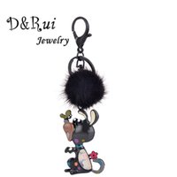 ingrosso portachiavi farfalla-Cute Dog And Butterfly Keychain On Keys Fur Ball Pompon Animal Portachiavi Per accessori Donna Bambini Portachiavi Catene Gioielli