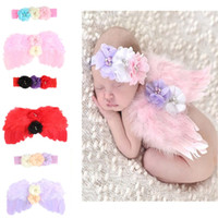 ingrosso children s photo props-Baby angel 2 pz / lotto ali + fascia set di foto europee e americane per bambini puntelli di strass fiore piuma ala hairband