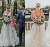 Wholesale sexy elegant wedding dresses online - 2019 Bohemian Style V Neck Wedding Dresses Elegant Sexy Backless Lace Appliques Wave point Country Style Bridal Gown Custom Made