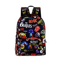 рюкзак рок оптовых-Рок-группа The Beatles / Acdc / Iron Maiden Рюкзаки Для Мальчиков Девочек Рюкзак Школьные Сумки Для Подростков Женщин Мужчин Милый Рюкзак