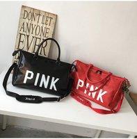 женские женские спортивные сумки оптовых-Дизайнерские женские высококачественные спортивные и фитнес-сумки для переноски с большой вместительностью, роскошная кожаная светло-коричневая ночная сумка с принтом PINK