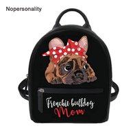 üniversite kızları için sevimli çantalar toptan satış-Nopersonality Siyah Fransız Bulldog Baskı Kadın Sırt Çantaları Sevimli Küçük Deri Koleji Kız Seyahat Backbag Mini Omuz Çantaları