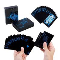 monte edilmiş oyunlar toptan satış-Moda Yeni PVC Su Geçirmez Siyah Poker Kurulu Oyun Kartı Oyun Kartları Sihirli Sahne Yeni Moda Siyah Projektör Dağı