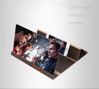 iphone tischten großhandel-Faltbare 12 Zoll 3D Holz Strahlenschutz Bildschirm Lupe Mobile Smartphone Rack Filme Film Verstärker Handy Für Iphone Ipad Tablet
