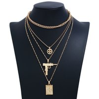 Wholesale gun chains color gold resale online - Multilayer Necklaces For Women Collar Jewelry Party Hip Hop Gun Cross Pendant Necklace Color Gold Silver Long Link Chain Choker Necklace