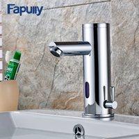 torneira automática da bacia do sensor venda por atacado-Fapully Basin Bath Faucet Hot Fria torneiras de água Mãos automáticas Toque Infrared Sensor Faucet Sink Bathroom