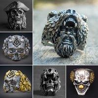 gotik maskeler toptan satış-Yeni Serin Erkekler Paslanmaz Çelik Gothic Punk Kafatası Boy Biker Parmak Halkası Moda Vintage Erkek Takı Maske