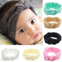 Wholesale childrens hair braiding resale online - Fashion Baby Lace Headbands Girls Braided Hairbands Childrens Cross Knot Hair Accessories Head Wrap Lovely Infant Elastic Headband Kha273