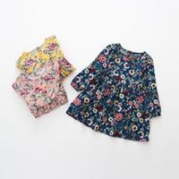 lange kleid tupfen großhandel-7 stile Frühlingsmädchen Kleid Baumwolle Langarm Kinder Kleider Polka Dot Kinder Kleider Für Mädchen Mode Mädchen Kleidung