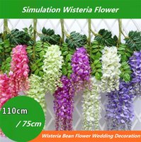 Wholesale wisteria hanging flowers resale online - New Simulation Wisteria Flower Blossom Bean Flower Hanging Wedding Fake Wisteria Flower Decorative Simulation Wisteria Branch