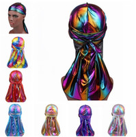 Wholesale orange accessories for men resale online - New Colorful Sparkly Durags Turban Bandanas For Men and WOmen Shiny Silky Durag Headwear Headbands Hair Cover Accessories Wave Caps Rags Hat