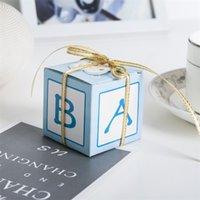 mavi ipek şerit toptan satış-Diy Bebek Mektup Ambalaj Vaka Papery Mavi Pembe Çikolata Şeker Kutusu Ipek Kurdele Doğum Günü Partisi Hediye Kutuları 0 3rhD1