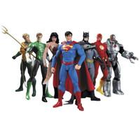 mulher maravilha ação venda por atacado-Liga da justiça Figuras Super Herói Action Figure Mulher Maravilha Modelo 7 Pcs Por Conjunto Famoso 17 Cm 41ll D1