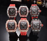 relojes de pulsera de hielo al por mayor-Venta al por mayor Moda para hombre Reloj de lujo Todo el trabajo Cronógrafo Diamante Bisel Iced Out Diseñador Relojes Movimiento de cuarzo Relojes deportivos