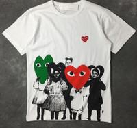 t-shirt druckfarbe großhandel-Mens T-Shirt Fashion Brand Stickerei Doppel spielt rotes Herz Männer Liebhaber gedruckt DES spielen GARCONS CDG spielen Tinte Kurzarm Frauen T-Shirt