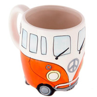 Wholesale hand painted ceramic coffee mugs resale online - 400ml Creative Hand Painting Double Bus Cartoon Mugs Retro Ceramic Cup Coffee Milk Tea Mug Drinkware Novetly Gifts