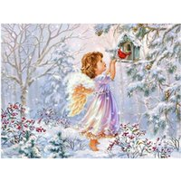Wholesale diamond painting christmas resale online - 2019 new d diy full round diamond painting winter snow landscape cross stitch embroidery painting Christmas children s gifts