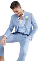 costumes bleu clair pour hommes achat en gros de-2 pièces de haute qualité Light Blue Men Jacket + pantalon convient pour le mariage Handsome Slim Fit Groom Prom smokings costumes Masculino