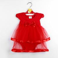 ingrosso vendita di neonati ragazza vestiti-Vendita calda NewBorn Baby Dress Summer Cotton Bow Baby Pagliaccetti Per le ragazze Estate Bambini Abbigliamento infantile Neonate Tuta