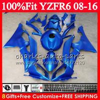 soportes yamaha al por mayor-Inyección de metal plano azul para YAMAHA YZFR6 YZF-R6 YZF R6 08 09 10 11 12 13 14 15 16 Kit de carenado + soporte de soporte + faro + tapa del tanque