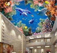 techo de pesca al por mayor-WDBH murales del techo 3d fondo de pantalla personalizado foto Mar mundo ballena delfín de coral pescado a casa decoración de la habitación 3d murales del papel pintado para paredes de 3 d