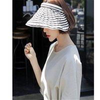 amplio sombrero de playa floppy al por mayor-Summer Empty Top Visor Sun Caps Damas Casual al aire libre protección UV sombreros de playa de ancho grande de ala del ala de rayas sombreros de sol para las mujeres