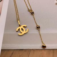 top pendentifs achat en gros de-Top qualité en gros marque bijoux amant pendentif collier hommes femmes longue lettre charme collier de mode en acier inoxydable collier 2019