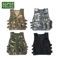 uniformes del ejército al por mayor-Niños Camuflaje Caza Ropa Hombres Equipo de combate Táctico Ejército Chaleco Niños Cosplay Traje de francotirador Uniforme