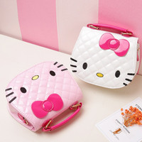 Wholesale kitty messenger bags online - Cute Girls Mini Bag Children Hello Kitty Large Handbags Cartoon Cat Pattern PU Waterproof Should Bag Kids Girls Fashion Messenger Bags B11